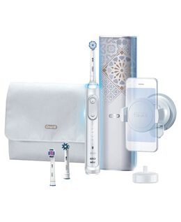 Genius AI Electric Toothbrush with 3 Replacement Heads & Smart Travel Case, White
