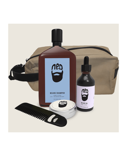 Washbag with Bead Oil, Comb, Wax, and Shampoo