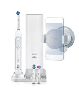 Genius 9000 Electric Toothbrush with 3 Replacement Heads & Smart Travel Case, White