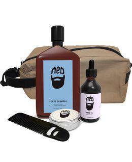 Washbag with Beard Oil, Comb, Wax, and Shampoo